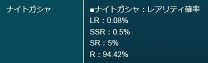 ザクセスヘブン ナイトガシャ確率 LR SSR